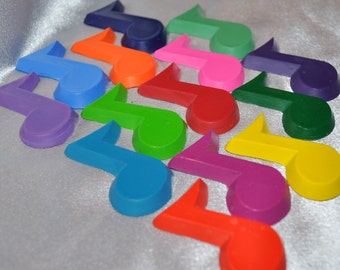 Music Note Shaped Recycled Crayons, Total of 14.  Boy or Girl Kids Unique Party Favors, Crayons.