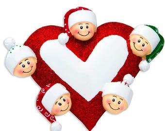 Heart with Faces 5 Personalized Christmas Ornament