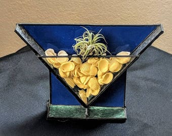 Cobalt Blue Stained Glass Air Plant Holder. Free Shipping in the United States.