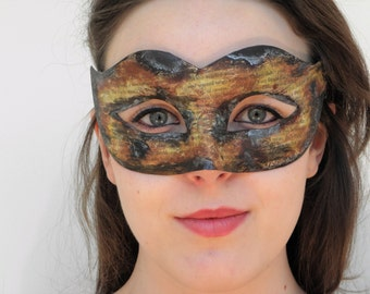 Burnt paper book fire damaged effect masquerade mask with ribbon tie