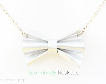 EcoFriendly Products: Sweet Bow Necklace. Recycle Fashion Vintage Ribbon Bow Silver Metal Sweet Lolita