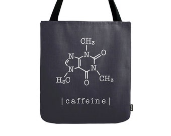 Caffeine molecule tote bag Caffeine molecule bag typography tote bag gift for her coffee bag coffee tote bag black canvas bag coffee canvas