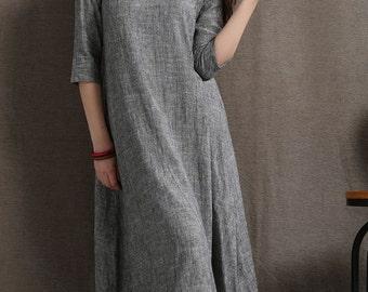 Linen Dress, linen tunic, tunic dress, midi dress, casual dress, gray dress linen, woman dress, loose linen dress, linen dress women C413