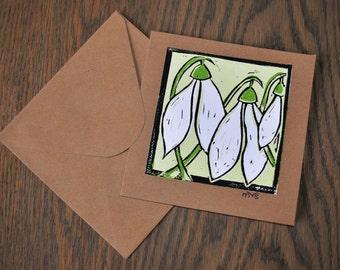 Snowdrops linocut card