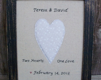 Rustic Country Wedding Sign, Personalized, Framed, Wedding Announcement, Embroidery, Heart, Wedding Gift, Handmade, Wedding Saying, Love