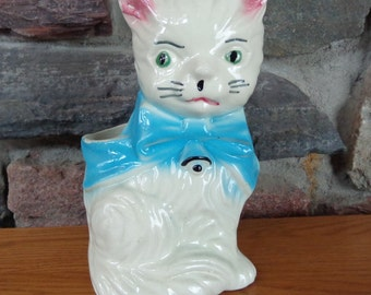 Vintage Large Ceramic White Cat Planter with Blue Bow