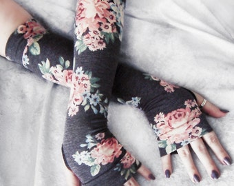 Arm Warmers | Heather Grey Peach Pink Pastel Blue Sage Green Cream Floral Rose | Boho Fall Rustic Victorian Steampunk Noir | Efflorescent