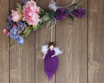 Neuried Luck Angel; Needle Felted Doll; Purple Angel; Fairy Dolls; Waldorf Inspired