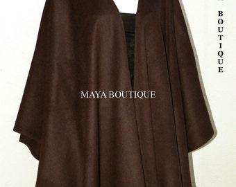 Chocolate Cashmere Wool Cape Ruana Wrap Coat Maya Matazaro Made in USA New