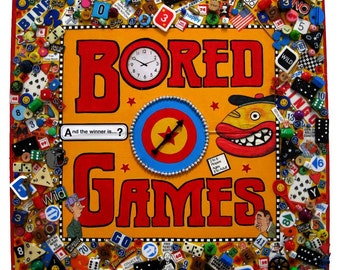 Altered Board Game with Spinner,  Altered Art, Recycled Game, Pop Art,