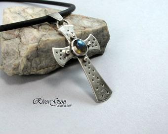 Sterling Silver Cross Pendant, Silver Cross Necklace, Sterling Silver Cross,  Labradorite Stone, Metalwork by RiverGum Jewellery