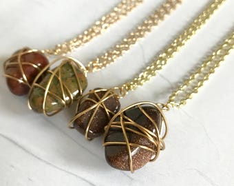 Brown Gemstones Wire Wrapped Necklace