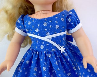 18 inch Doll Clothes Blue Snowflake  Dress Fits American Girl Doll
