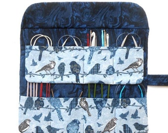 Blue Birds Circular Knitting Needle Case, Double Pointed Needle DPN Holder, Crochet Hook Storage Organizer, Artist or Makeup Brushes Roll Up