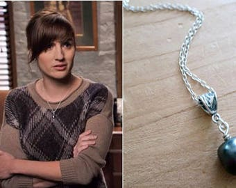 Seen on Bones, Swarovski Grey Pearl Necklace, Simple Layering  Single Pearl Jewelry As Seen On TV, Birthday Gift for Fan of Show Bones