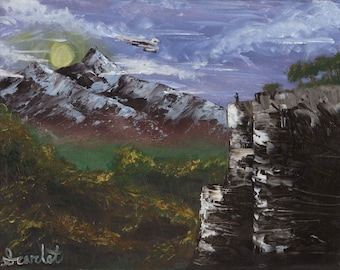 """Mass Effect Art Print """"Flight of the Normandy"""" Oil Painting Gaming Various Sizes Giclee Archival"""