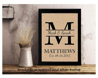 Personalized Wedding Gift for Couple, Bridal Shower Gift, Rustic Wedding Decor, Engagement Gift, Wedding Gift Last Name Establish