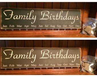 "Custom Carved Wooden Sign - ""Family Birthdays - BIRTHDAY BOARD"" - 24""x6"""
