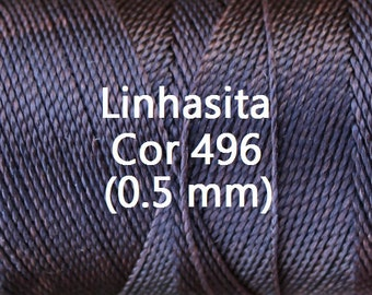 Linhasita Dark Chocolate (0.5 mm) Cor 496, Waxed Polyester Macrame Cord/ Beading/ Spool