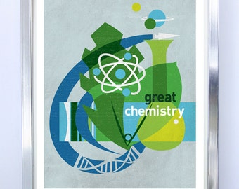 LARGE Great Chemistry, Science Poster, Art Print Science Illustration Poster - Wall Art - Stellar Science Series