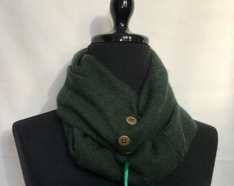 Heather Dark Green  Infinity Cashmere Wool Scarf made from an Upcycled Sweater