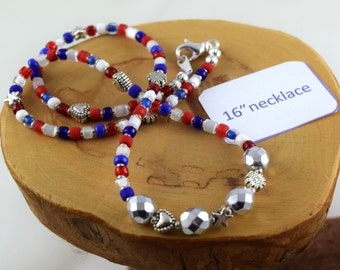 16 inch Americana red white and blue Czech crystal and seed bead choker necklace