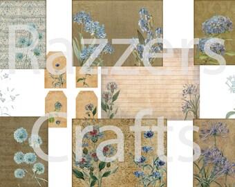 Vintage Blue Botanical digital journal kit