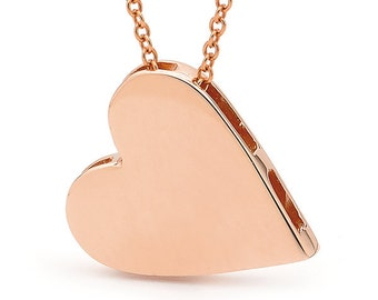 Rose gold heart pendant, Heart Necklace, Rose Gold Heart Necklace