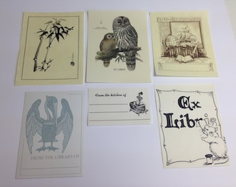 Vintage Bookplates, Antioch book plates, Ex Libris bookplates, book labels, book stickers, owl bookplate, pelican bookplate, bamboo, mouse