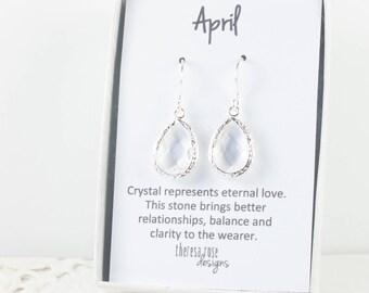 April Birthstone Silver Teardrop Earrings, Crystal Silver Dangle Earrings, April Birthstone Jewelry, Silver Earrings, Bridal Earrings
