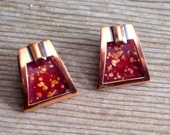 Modernist Matisse Earrings, Vintage MATISSE Enamel Copper Earrings, Modernist Geometric Clip Earrings, Vintage Copper Jewelry