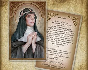 St. Bridget of Sweden Holy Card or Wood Magnet #0065