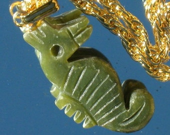 Seahorse Necklace Jade Vintage Pendant Carved Hand That 70's Show Charm Ocean Sea Life Modernist 60s Kitschy Choker Cottage Chic Go Green