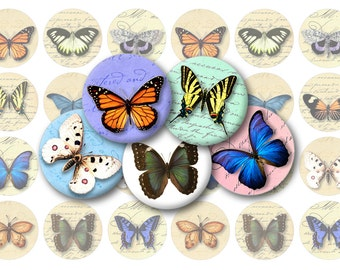 Vintage Butterflies Printable  1-Inch Circles / Bottlecap Images / Butterfly Motif Rounds / Digital Collage / Instant Download