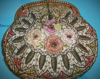 Incredible ribbonwork purse antique