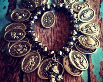 Handmade All saints crystal charm bracelet
