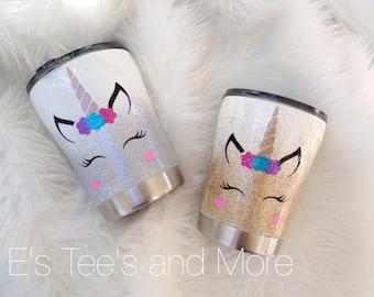 Unicorn Glittered Tumbler // Kid's glittered tumbler // 10oz Ozark Trail Cup // Stainless Tumbler // Kids gift //