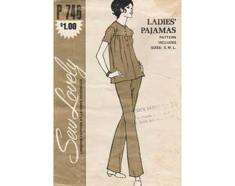 Ladies Pajamas Sewing Pattern Misses Size Small, Medium, Large Vintage 1970's Sew Lovely P 746