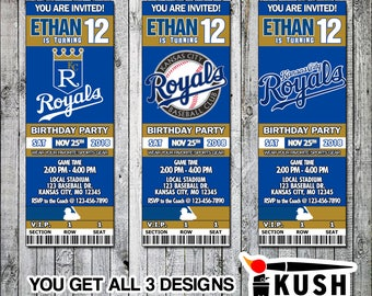 Kansas City Royals Baseball Printable Ticket Invitation Design - Digital files only
