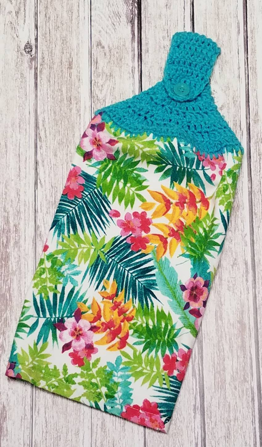 Crochet Hanging Kitchen Dish Towel Crochet Towel Topper