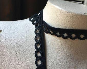 10 yds BLACK Elastic Loop Edged for Lingerie, Garments, Costumes EL 239