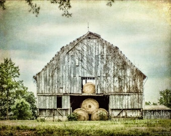 Rustic Gray Weathered Barn Bales of Hay Scenic North Carolina Countryside Landscape Fine Art Photography Print or Gallery Canvas Wrap Giclee