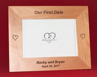 Hearts I Love You Personalized Engraved Picture Frame Our First Date Gift Gift for Mom Gift for Grandma Aunt Nana Step-Mother