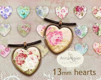 Shabby Flowers Hearts 13 mm - Digital Collage Sheet for 12 mm Earrings - Bottlecaps - Pendants - Magnets - Buttons