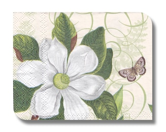 Paper napkin for decoupage, mixed media, collage, scrapbooking x 1 (cocktail). White Fleur  No 1242