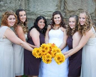 Sunflower bridesmaids bouquet with burlap