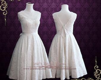 Vintage Tea Length Wedding Dress with Sweetheart Lining | Beach Wedding Dress | 50s Wedding Dress | Caroline