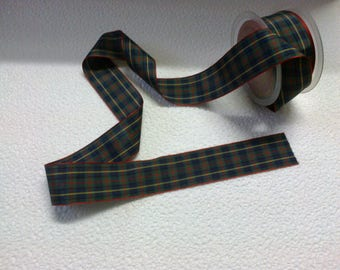Plaid Ribbon green dark wide 3.8 cm