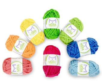 8 Acrylic Yarn Multicolor Skeins - DK Yarn Starter Kit - 7 Ebooks with Yarn Patterns Included - Crochet and Knitting Yarn for Beginners