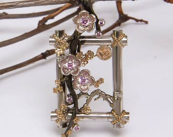 Hanami sakura pendant Sterling Silver 925 cherry blossom japanese flower Oringo floral jewelry